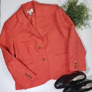 Talbots Boho Silk Linen Boyfriend Blazer Jacket